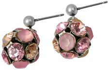 NEW PILGRIM SILVER PLATED EARRINGS PINK SWAROVSKI CRYSTALS BALL SHAPED - RARE