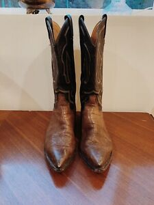 Vtg. Tony Lama Cowboy Boots Brown/Black Leather Men's Western Size 10 D
