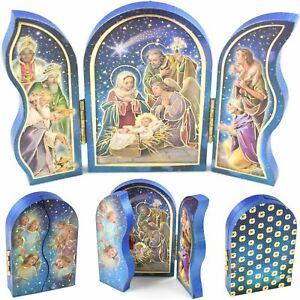 "NATIVITY WOODEN TRIPTYCH PLAQUE 9cm 3.5"" Joseph Virgin Mary Jesus Christmas Gift"