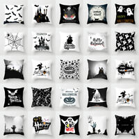 Halloween Ghost Witch Pumpkin Cushion Cover Skull throw Pillow Case Decor Bu