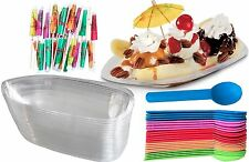 Outside the Box Papers Clear Plastic Banana Split Boats 12 oz, Spoons, Umbrellas