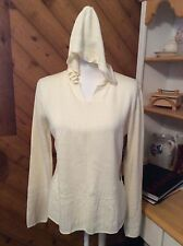 New LOL Lots of Laughs - Ivory Hooded Pull on SWEATER Woven details size S