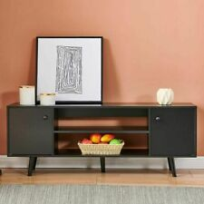 Modern TV Stand Entertainment Center w/ Cabinets Shelf Storage Living Room Black