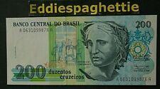 Brazil 200 Cruzeiro 1990 UNC P-229