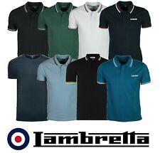 Mens Lambretta Polo T Shirt Designer Branded Top Collar Polo Shirt Sizes S - 4XL