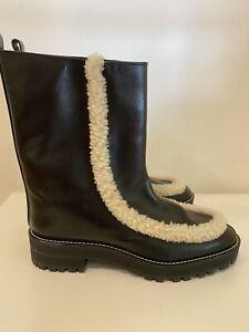 Stuart Weitzman Black Leather Ankle Boots Fur Trim Sz 9.5