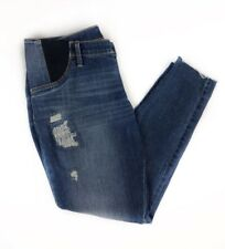 NWT ISABEL Maternity Jeans Womens Sz 10 Elastic Waist Cropped Cuffs DISTRESSED