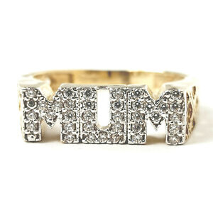 Gold MUM Ring White Cubic Zirconia Stones 2.9g NEW 9ct Yellow gold Size N