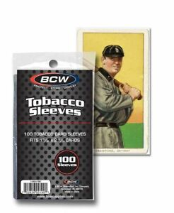 """1-15/32"""" X 2-11/16"""" Tobacco Trading Sized Card Sleeves BCW Brand Pack of 100"""