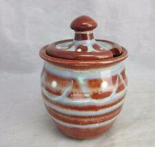 Blue & brown gaze studio pottery honey, jam pot