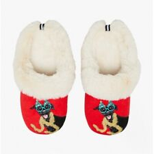 Joules SLIPPET LUXE Ladies Textile Warm Lined Mule Slippers Christmas Dog