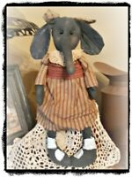 **Primitive` Handmade` **Artist *Elephant Girl  Doll` Homespun Dress`Circus`OOAK