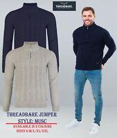 Mens Knitwear Jumper Sweater Funnel Neck Zip Top Threadbare Pullover MUSC