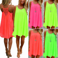 Women Summer Chiffon Beach Mini Dress Swimwear Bikini Cover Up Loose Sundress