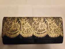 """Black Fabric With Gold Lace Clutch Evening Bag Measures 10.25"""" x 5"""" x .5"""" NEW"""