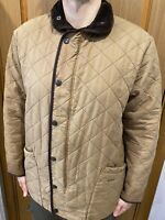 BARBOUR Duracotton Polarquilt Winter Fleece Brown Jacket Coat Size- XL