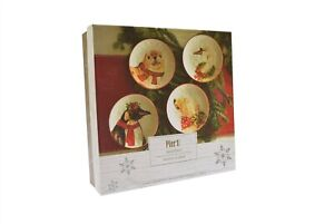 "Pier 1 Christmas Salad Plates 8.25"" Polar Bear Swan Seal Penquin NEW - Set of 4"