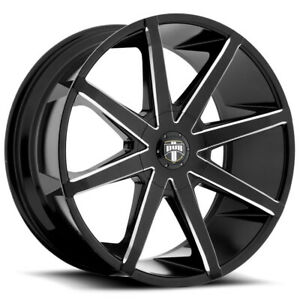 "Dub S109 Push 20x8.5 5x4.5""/5x5"" +30mm Black/Milled Wheel Rim 20"" Inch"