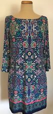 Laundry by Shelli Segal Los Angeles Tunic Dress 3/4 sleeve Multi-Color Size L