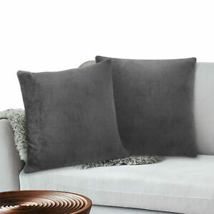 Throw Pillow Covers Set of 2 Sofa Decor Fleece Cushion Cases 2 Sizes with Zipper