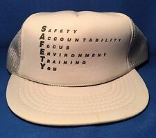 Vintage SAFETY Mesh Trucker Hat Cap Snapback w/ Rope - Training Environment GRAY