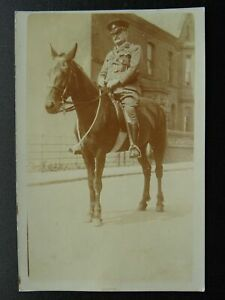 Military UNIFORMED SOLDIER ON HORSEBACK - Old RP Postcard