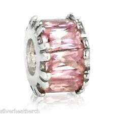Pink Stone Baguettes Silver Bracelet/Bangle Charm Bead