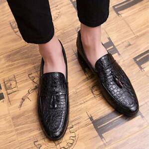 Mens Crocodile Pattern British PU Leather Slip On Business Retro Shoes Brogue