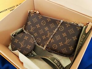 LOUIS VUITTON MULTI POCHETTE Rose strap bag Monogram AUTHENTIC Shoulder handbag