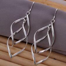 Double Leaf Drop Dangle Hook Earrings Women 925 Sterling Silver Jewellery Gift