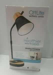 OttLite Wellness LED Table Lamp with Wireless Charging USB Port