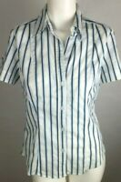 NEW YORK & CO. Women's Top Medium White Striped Blue Black Short Sleeve Button