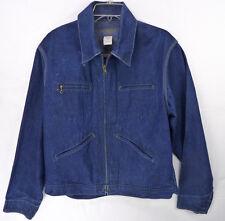 Vintage Osh Kosh B'Gosh Dark Blue Denim Work Chore Jacket Zip Front 42 42R L