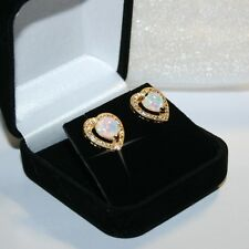 Created Heart Opal Diamond Alternatives Stud Earrings 14k Yellow Gold over 925SS