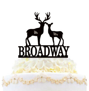 Personalized Wedding Cake Topper Mr And Mrs Deer Silhouette With Last Name Gift