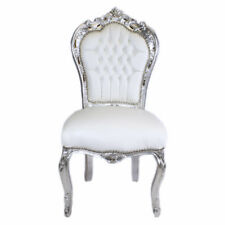CHAIRS FRANCE BAROQUE STYLE DINING ROYAL CHAIR SILVER / WHITE #60ST5