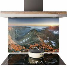 Glass Splashback Kitchen Tile Cooker Panel ANY SIZE Sunset Mountain Nature 0653