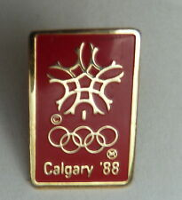 Calgary 1988 Winter Olmpic Snowflake Rings Red Lapel Souvenir Pin