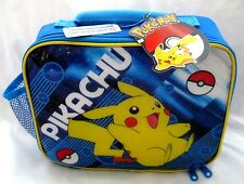 "POKEMON PIKACHU 9.5"" LUNCHBOX-BLUE WITH PIKACHU LUNCH BAG LUNCH BOX-BRAND NEW!"