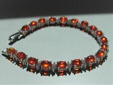 Women's Opal Bracelet-925 Sterling Silver Orange Fire Opal & CZ Bracelet