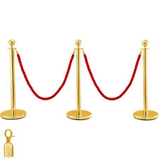 "3Pcs Queue Barrier Gold Post Crowd Control Line Barrier 37.8""H Hotel 4.9ft Rope"