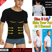 Men Seamless Slimming Body Shaper Elastic T-Shirt Abdomen Vest Tops Compression
