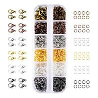 6 Colors Lobster Claw Clasps and 6 Colors Open Jump Rings for Jewelry Makin T7P1