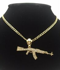 10K YELLOW GOLD AK-47 PENDANT WITH CUBIC ZIRCONIA AND 10K Y/G CUBAN LINK CHAIN