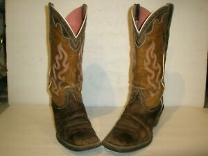 "WOMENS ARIAT SQUARE TOE 14"" LEATHER WESTERN COWBOY BOOTS SHOES  SIZE 9"