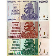 Zimbabwe 1, 5, and 10 Billion Dollar Bills Banknotes Paper Money World Currency