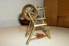 Antique Dollhouse Miniature Brass Movable Spinning Wheel Holland Salesman Sample