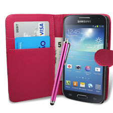 Pink Wallet Case Pouch PU Leather Cover For Samsung S4 Mini I9190 Mobile
