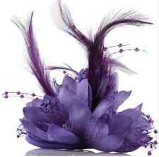 Purple Flower Feather Fascinator Bridal Bead Corsage Hair Clips Hairband