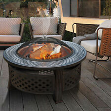 Fire Pit Heavy Large Outdoor Firepit Garden Heater Round Table BBQ Brazier&Grill